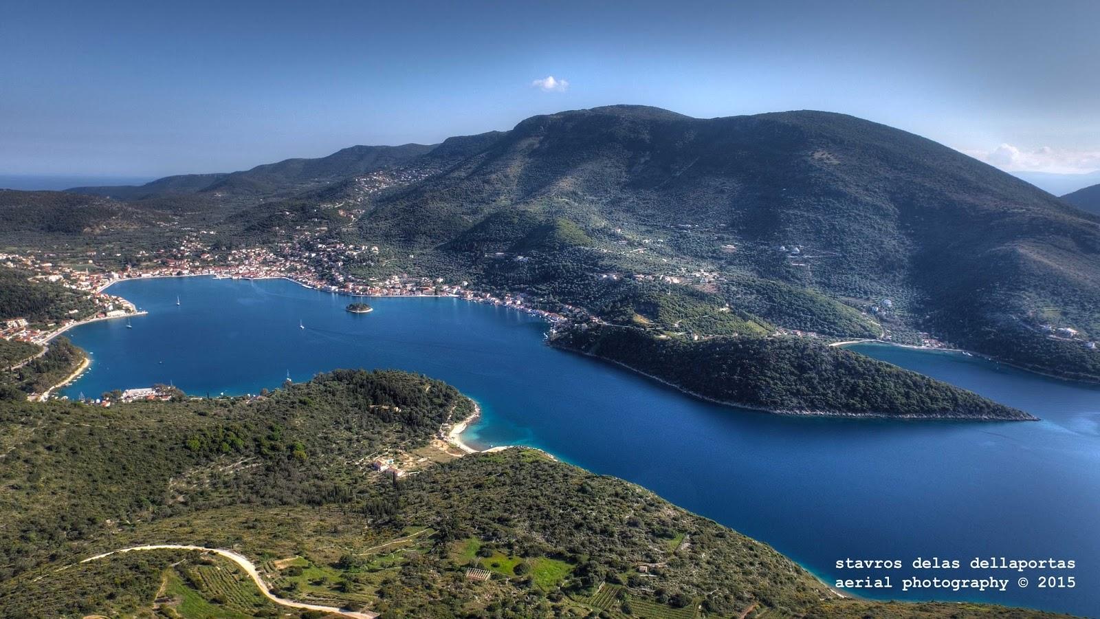 vathy ithaki greece aerial 1