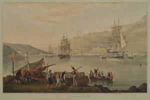 Town and harbour of Vathi, Ithaka. CARTWRIGHT, Joseph. [Δώδεκα έγχρωμες χαλκογραφίες από τα Ιόνια νησιά, χάραξη και επιχρωματισμός R. Havell και υιού, Λονδίνο, 1821].