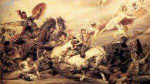 Ιλιάδα, Ο Διομήδης τραυματίζει την θεά Αφροδίτη. Diomedes Wounding Aphrodite by Arthur Heinrich Wilhelm Fitger
